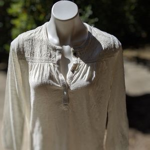 NWT Lucky Brand Ivory Embroidered Blouse - S